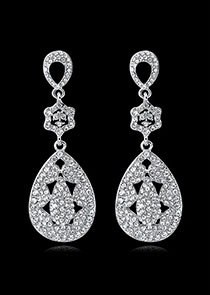 In Stock Simple Alloy Wedding Earrings With Rhinestones