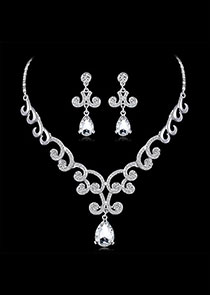 In Stock Charming Alloy Wedding Jewelry Sets With Rhinestones