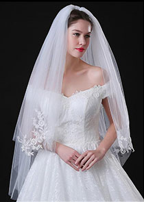 In Stock Elegant Tulle Two-layer Wedding Veil With Lace Appliques